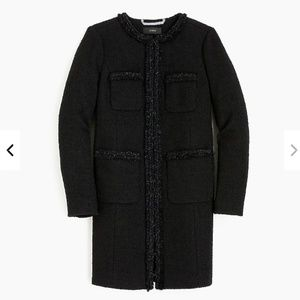 J.Crew Lady coat with fringe trim-tweed-H2300-sz 0